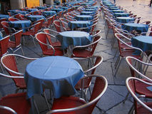 Tables and chairs. In the street Royalty Free Stock Photos