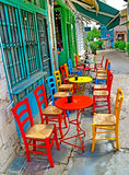 Tables chairs. On a street cafe - Ioannina Greece royalty free stock photo