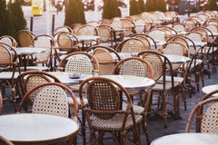 Tables and chairs of street cafe Stock Photography