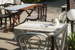 Tables and chairs of street cafe Royalty Free Stock Photography