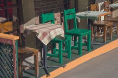 Tables and chairs of a street cafele Stock Photo