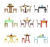 Tables and chairs vector icons of restaurant, cafe or bistro served with food and drinks dishware. Tables and chairs vector icons of resturant, cafe or bistro Stock Images