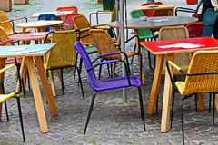 Tables and chairs. Waiting for the cocktail hour Royalty Free Stock Photos