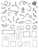 Tables d'Infographic sur le fond d'isolement Collection de bureaux sur le blanc Flèches pour la conception Signes simples tirés p illustration de vecteur