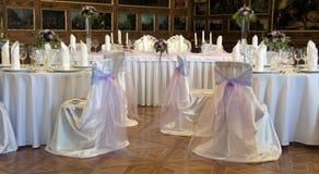 Tables de réception de mariage Photos libres de droits