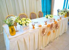 Tables decorated with flowers Royalty Free Stock Images