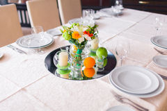 Tables decorated with flowers Royalty Free Stock Photos