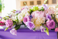 Tables decorated with flowers Royalty Free Stock Photo