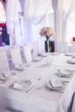 Tables decorated with flowers Stock Image