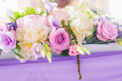Tables decorated with flowers Stock Images