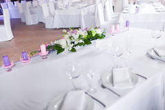 Tables decorated with flowers Royalty Free Stock Photography