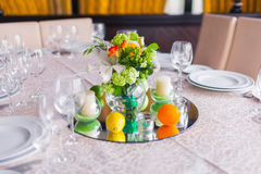 Tables decorated with flowers Stock Photography