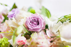 Tables decorated with flowers. Closeup details Royalty Free Stock Photo