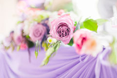 Tables decorated with flowers. Closeup details Royalty Free Stock Image