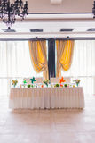 Tables decorated with flowers and fruit Stock Photography