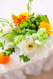 Tables decorated with flowers and fruit Stock Images