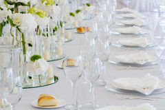 Wedding reception tablest. Tables decorated for a party or wedding reception Stock Image