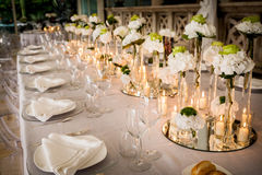Wedding reception tables. Tables decorated for a party or wedding reception Stock Photography