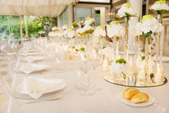 Wedding reception tables. Tables decorated for a party or wedding reception Royalty Free Stock Photos
