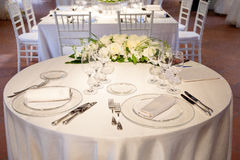 Wedding reception tables. Tables decorated for a party or wedding reception Royalty Free Stock Images
