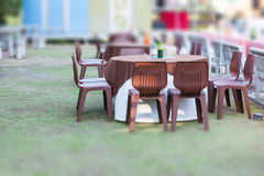 Tables decorated for a party. Or wedding reception in the park Stock Photo