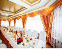 Tables decorated at the Wedding Reception Stock Photography