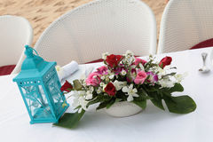 Tables decorated for a wedding reception. Royalty Free Stock Photo