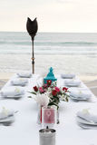 Tables decorated for a wedding reception. Stock Photos