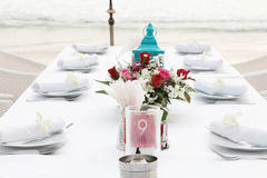 Tables decorated for a wedding reception. Stock Images