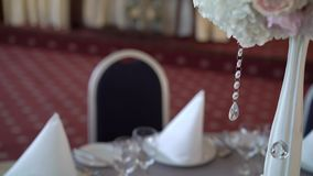 Tables decoration at the party. Tables decoration at the celebration party stock video footage