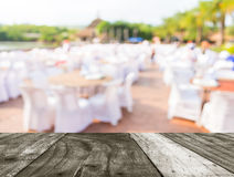 Tables and decoration prepared for an outdoor party Stock Image