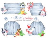 Tables des messages de Noël avec des branches de sapin, des jouets, le chiot mignon et des oiseaux Photographie stock libre de droits