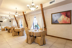 Tables in elegant restaurant Royalty Free Stock Photos