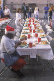 Tables of food for the homeless at Christmas, Los Angeles, California Royalty Free Stock Photo