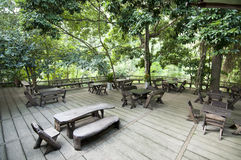 Tables in forest Royalty Free Stock Photography