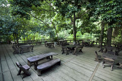 Tables in forest Stock Photography