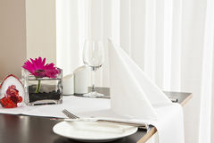 Tables with formal setup in modern restaurant Stock Photography