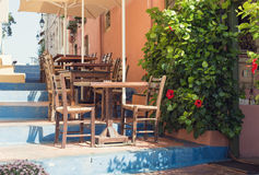 Tables of greek tavern. Greek tavern terrace on open air Stock Photography