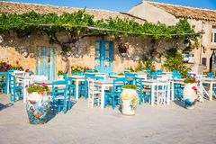 Tables In A Traditional Italian Restaurant In Sicily Royalty Free Stock Image