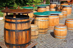 Tables old barrels Royalty Free Stock Photo