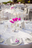 Table setup for outdoor event Stock Photography