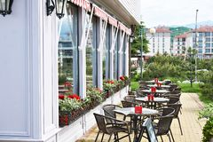 Tables of outdoor summer cafe royalty free stock photos