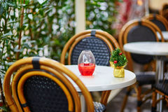 Tables of a Parisian cafe decorated for Christmas Stock Photos