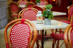 Tables of a Parisian outdoor cafe Royalty Free Stock Photography