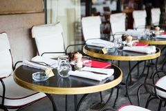 Tables of Parisian outdoor restaurant Stock Photos