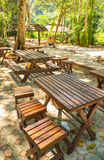 Tables in a park Royalty Free Stock Photo