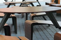Tables on the pavement in a row Royalty Free Stock Photo