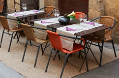 Tables of a Provence restaurant Stock Photos