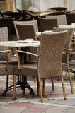 Tables and rattan chairs Royalty Free Stock Photography