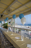 Tables ready for christening Stock Photography